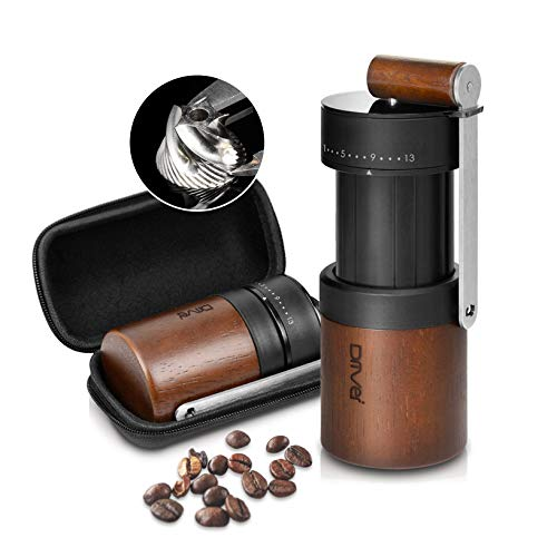 Manual Coffee Grinder, Dual Bearing Expandable Whole Bean Wood Handy Size Juglans Nigra Stainless Steel Burr 30g by…