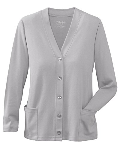 UltraSofts Button-Front Knit Cardigan, Heather Gray, Large