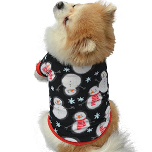 [Mikey Store Christmas Pet Puppy Snowman Warm Pullover High-grade Embroidered Clothes (Black, M)] (Snowman Halloween Costumes)