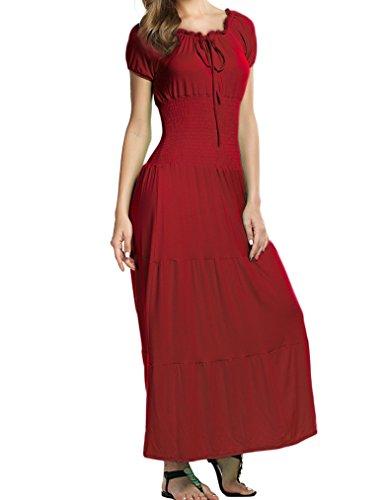 Women's Gypsy Boho Cap Sleeves Smocked Waist Tiered Renaissance Maxi Dress (S,Wine Red) (Dress Cap Tie Waist Sleeve)
