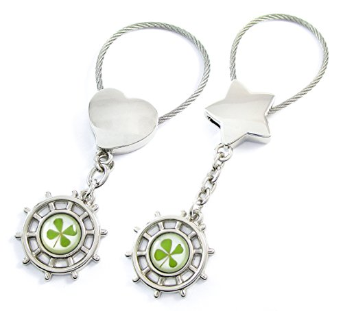 Engravable Gift Keychain (Genuine Four-leaf Lucky Clover Crystal Amber Engravable Key Chain, Lucky Directions, Guide Your Lucky Life Journey! (3. Matching Pair))