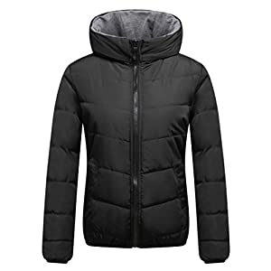 Wantdo Women's Quilted Puffer Padded Jacket With Hooded US Medium Black