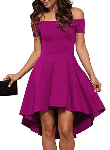 HUSKARY Women Off The Shoulder Sleeve High Low Flared Swing Cocktail Skater Dress (Medium, Plum Red)