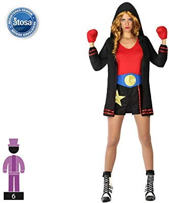 Atosa 59358 Disfraz Boxeadora M-L Mujer Negro, color