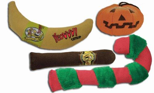 Yeowww! 100% Organic Catnip Toy Assortment (banana, cigar, pumpkin, candy cane), My Pet Supplies