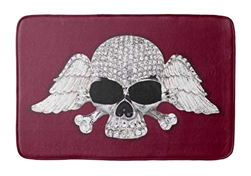Aomsnet Skull Wings Bling Bathroom Decor Mat, Shower Rug Mat Water Absorbent Fast Drying Kitchen, Bedroom, Hotel, Spa Tub. 24