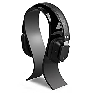 AmoVee Acrylic Headphone Stand Gaming Headset Holder/Hanger, Extra Thick – Black