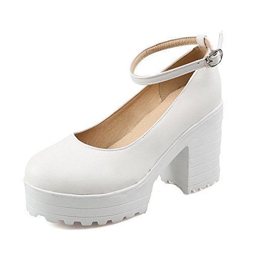 Odomolor Women's Buckle Pointed Closed Toe High Heels Solid Pumps-Shoes White IUCGN