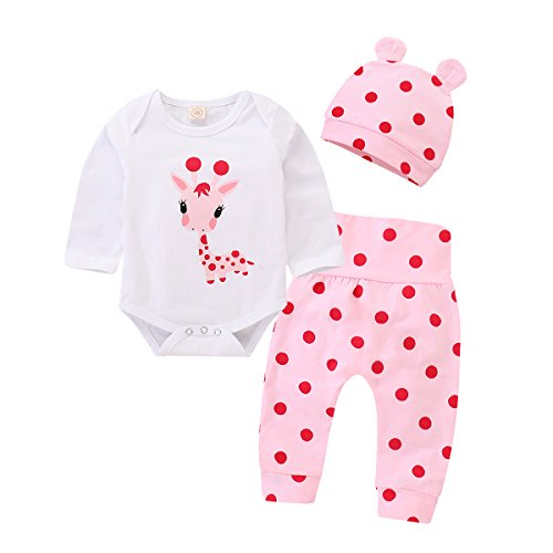 (Baby Girl Clothes Girls Baby Outfit Cute Pink Deer Pattern Long Sleeve White Rompers Top + Pink Dot Long Pants Set + Deer Ear Shape Pink Hats 3 Piece Baby Girls Outfits 3-6 Months)
