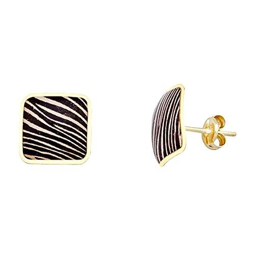 Boucled'oreille 11mm 18k boîte en or. Zebra [AA5089]