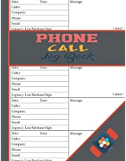 Phone Call Log Book: Phone Call & Voicemail Recording Notebook, Over 500 Telephone Record Space, Inbound/Outbound Call Tracker, all log book carbon copy phone call log.