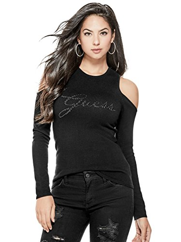 Guess Pearl (Guess Women's Long Sleeve Holly Pearl Logo Sweater, Jet Black, XS)