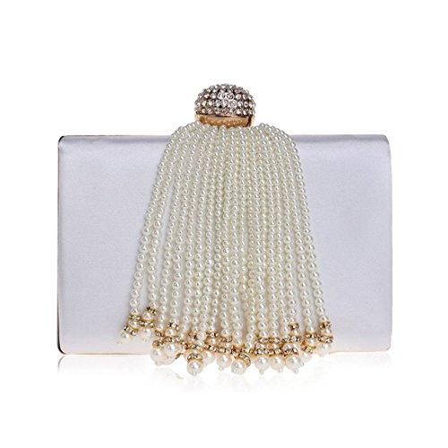 Handbag Tassel Bag Bag Color White KERVINFENDRIYUN Women's Party Ladies Black Purse Crossbody Evening Clutch HEnxBScq