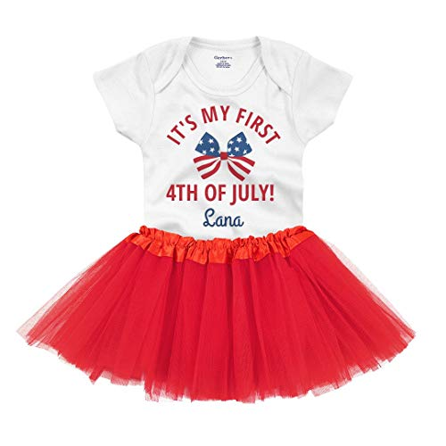 Lana First 4th of July Outfit: Infant Gerber Onesie with Tutu White/Red