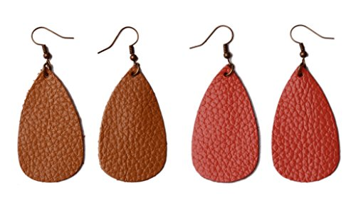Dangle Leather (L&N Rainbery Teardrop Leather Earrings Antique Looking Leather Dangle Earrings 2 Pairs Pack (Genuine Coral+Tan))