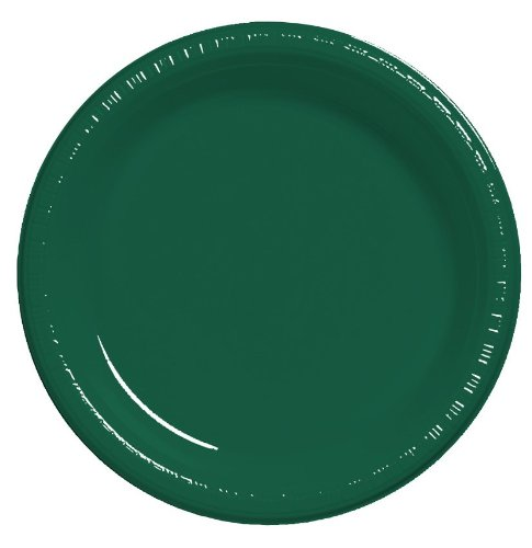 (Creative Converting Touch of Color 20 Count Plastic Banquet Plates, Hunter Green)