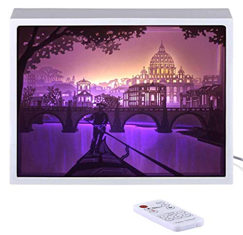 Papercut Light boxes, 3D Shadow Box Led light night lamp, Decorative Mood Light for Kids and Adults, Baby Nursery Kids Bedroom Living Room Night Light(Night in Rome)