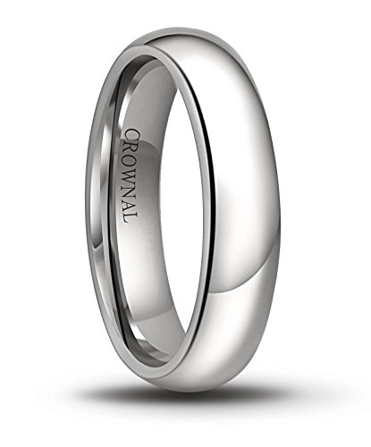 CROWNAL 6mm/5mm/4mm/3mm/2mm White Tungsten Carbide Polished Classic Dome Wedding Ring (5mm, 7.5)