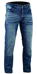 Bikers Gear Australia limitada Kevlar Lined–Pantalones vaqueros para motorista CE protección, Stone Wash Denim, tamaño 38S