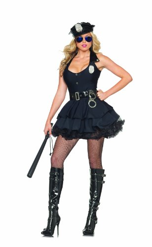Women's Sexy Cop 5 Piece Costume Dress Set with Hat,