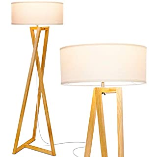 "Brightech""Z"" Wood Tripod Rustic Floor Lamp - Mid Century Modern, Standing LED Light for Living Rooms - Tall Lighting for Contemporary Bedrooms & Offices"