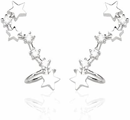 megko Silver Stud Stars Ear Cuffs Crystal Earrings Hoop for women