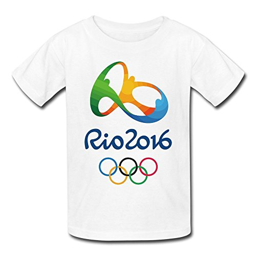 Teelife Youth's 2016 Brazil Rio Olympic Games Logo T-shirt White Large