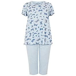 Yours Clothing Womens Pyjama Set Butterfly Print PJ Top Bottoms Plus Size