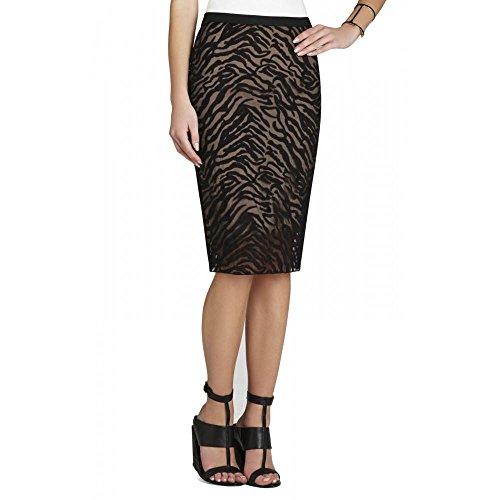 BCBGMAXAZRIA Women's Irisa Woven Embroidered Pencil Skirt, Black, (Embroidered Woven Skirt)