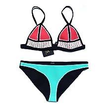 FLORAVOGUE Hand Crochet Conjoin Color Push Up Swimwear Neoprene Bikini Set