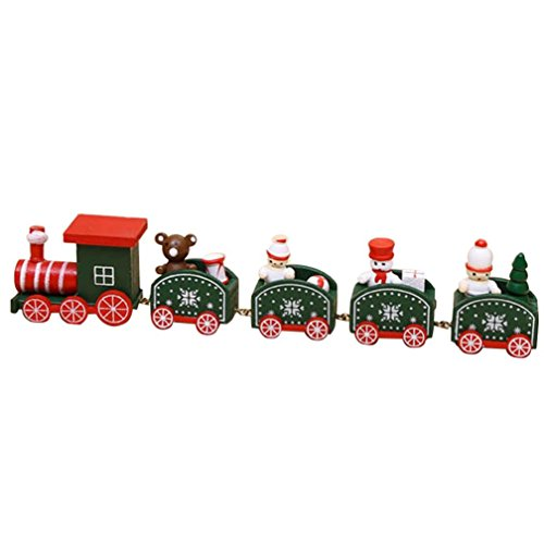 Dreamyth Wood Christmas Xmas Train Decoration Decor Gift Children Stitching Toys For Fun (Army Green)