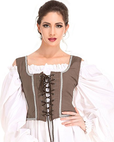 Pirate Wench Peasant Renaissance Medieval Costume Corset Bodice [Brown] (Large)