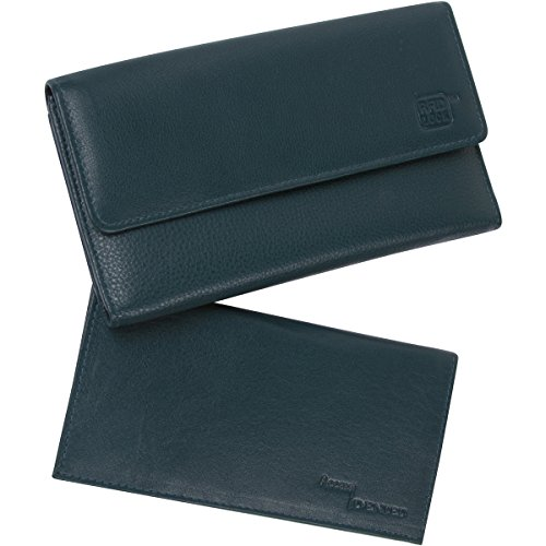 RFID Blocking Womens Leather Wallet and Checkbook by Access Denied (Teal)