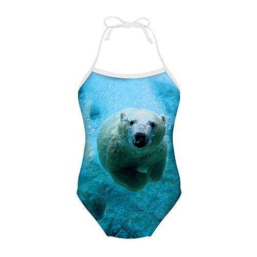 Frestree Customzation Girls Swimming Costume All in One Piece Girls Swimwear Recreational Sunsafe Ballet Kids Swimsuits for Girls Age 3-4 Years Polar Bear