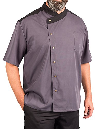 KNG Lightweight Uptown Snap Front Chef Coat, Slate with Black Accent, ()