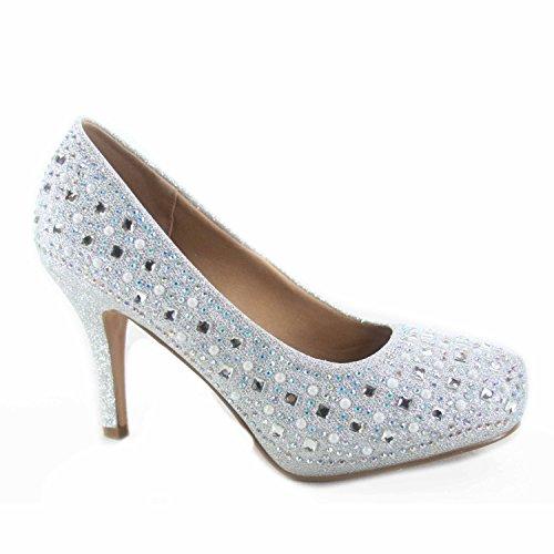 Forever Link Riley-79 Women's Sexy Bridal Party Rhinestone Round Toe High Heel Shoes (9 B(M) US, Silver) (Round Toe Pump Heel Medium)