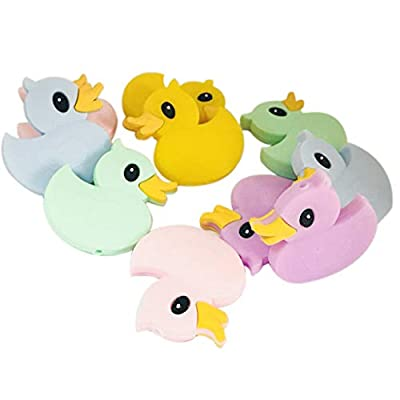 Ladaidra Baby Teether Beads Silicone Teething Toys Mini Cartoon Duckling Infants Newborn Pacifier Supplies: Toys & Games