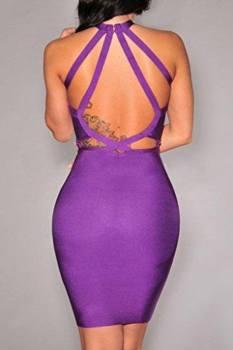 Women's Kleid Dear Violett Violett lover ärmellos tiefer Ausschnitt V Bandage nfn5CBSwq0