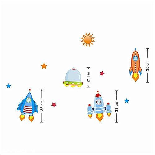 Removable Room Nursery Kindergarten Decor Rocket Star Moon Wall Sticker Decal (A type)