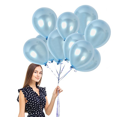 Treasures Gifted Pack of 72 Metallic Light Baby Blue 12 Inch Latex Balloons with Ribbons for Gender Reveal Wedding Bridal Shower and Birthday Party Pearl Decorations