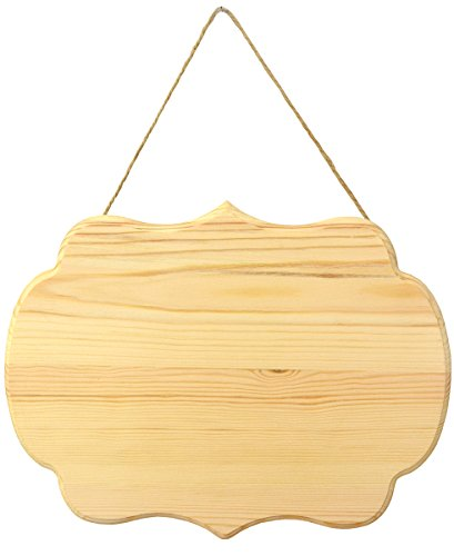 Lara's Crafts Wood Plaque with Curved Edges and Jute Hanger, 9.75