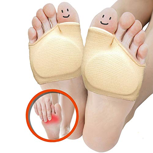 (Metatarsal Sleeve Pads, Half Toe Bunion Sleeve with Sole Forefoot Gel Pads Cushion for Diabetic Feet Metatarsalgia Mortons Neuroma Prevent Calluses Blisters, 2 Pieces)