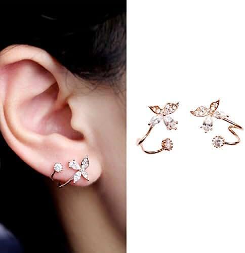 EVERU Gold Bling Butterfly CZ Diamond Jewelry Piercing Ear Wraps Stud Earrings for Women's Gift