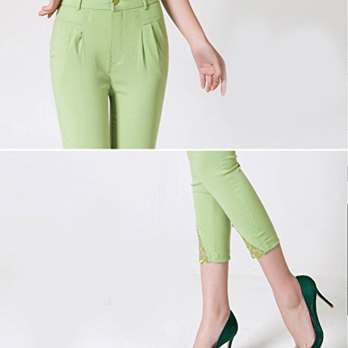 Zhhlaixing Fashion Pantalones Womens Pencil Pants Lace Stretchy Leggings Ladies Trousers Pants 3/4 Light Green