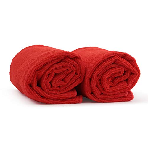 Red Salon Hand Towels 2 Pack  100% Microfiber, Maximum Absorbency, Super Soft, Ultra Plush - For Hair Drying, Face, Hands, Body or Gym - 16 x 27 - HairDay Care