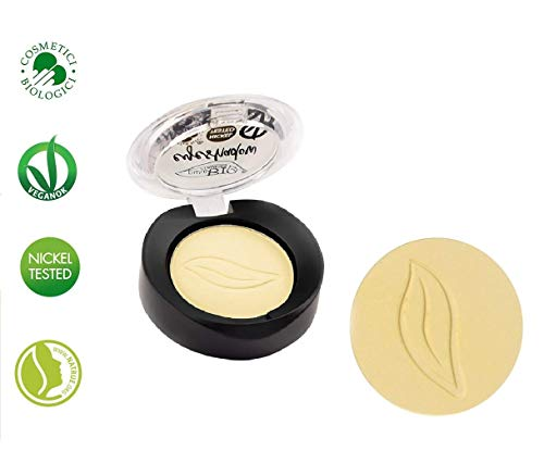 PuroBIO Certified Organic Highly-Pigmented and Long-Lasting Matte Eyeshadow - no.11 Banana Yellow- with Vitamins and Plant Oils.VEGAN.ORGANIC.MADE IN ITALY.