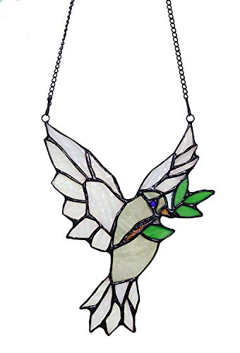 Alivagar Stained Glass Bird Windows Hanging Peace Dove SunCatcher, 5