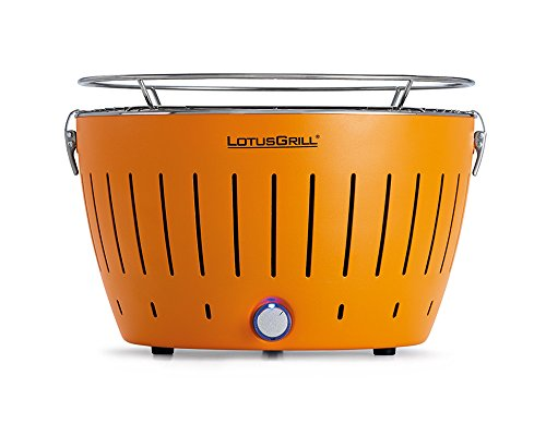 LotusGrill Holzkohlengrill Serie 340, Farbe Mandarine, 35 x 35 x 24 cm