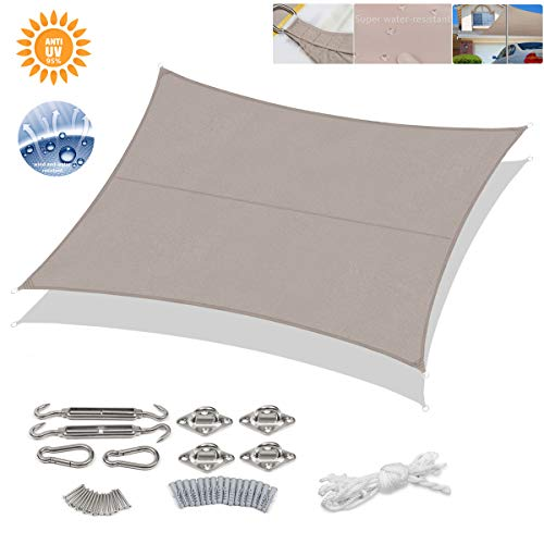 Sekey 10'x13' Rectangle Sun Shade Sail with M8 Hardware Kit PES Polyester Waterproof UV Block Weather Resistant Durable, Perfect for Outdoor Patio Garden Yard Backyard, Taupe