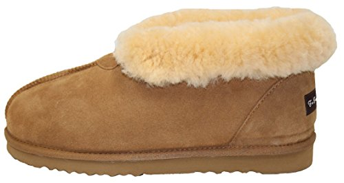 Furfurmouton Women's Slippers Booties Australian Sheepskin E809 (7, Chestnut)
